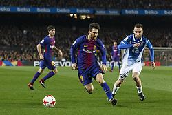 Enero 25, 2018 - Barcelona, Barcelona, Spain ..(10) Messi (delantero) y (25) Sergio Darder (centrocampista)..Partido de Copa del Rei entre el FC Barcelona y el RCD Espanyol disputado en el Camp Nou.  El partido ha finalizado 2-0 y el FC Barcelona ha pasado la eliminatoria con goles de Suárez y Messi...(14) Coutinho (centrocampista) ha debutado en la segunda mitad. (Credit Image: © Joan Gosa/Xinhua via ZUMA Wire)
