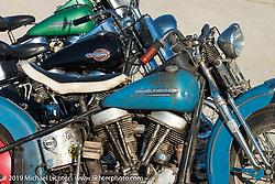 Three Panheads at the AMCA swap meet in New Smyrina, FL during Daytona Bike Week, FL., USA. March 8, 2014.  Photography ©2014 Michael Lichter.