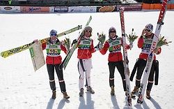 Winners from Norvegian team:  Anders Jacobsen, Johan Remen Evensen, Tom Hilde and Anders Bardal at Flying Hill Team in 3rd day of 32nd World Cup Competition of FIS World Cup Ski Jumping Final in Planica, Slovenia, on March 21, 2009. (Photo by Vid Ponikvar / Sportida)