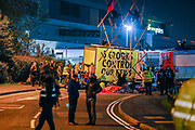 Extinction Rebellion environmental activist group (in the picture) maintain the blockade throughout the night using vehicles and bamboo lock-ons to try to prevent the Sun, Times, Telegraph and Mail newspapers from reaching newsstands on Saturday, Sept 5, 2020. The action took place in Broxbourne in Hertfordshire (in the picture) and Knowsley in Liverpool. Extinction Rebellion (XR) said about 80 activists were involved. Environmental nonviolent activists group Extinction Rebellion enters its 5th day of continuous ten days protests to disrupt political institutions throughout peaceful actions swarming central London into a standoff, demanding that central government obeys and delivers Climate Emergency bill. (VXP Photo/ Vudi Xhymshiti)