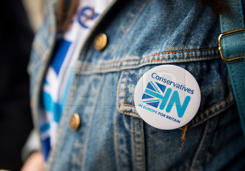 © Licensed to London News Pictures. 09/04/2016. London, UK.  A pro-Europe badge on the jacket of a conservative supporter outside the Conservative Party Spring Forum in central London.  Conservative party leader and British prime minster David Cameron has come under pressure after it was revealed that he had  investment in an offshore fund.  Photo credit: Ben Cawthra/LNP