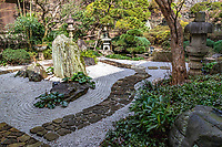 """Josei-ji Temple Garden is called """"heron singing"""" garden named after a poem by a famous Chinese poet Li  Bai """"fish swim in the blue water pond and heron sings"""". <br /> The  garden is built on a hill with its temple bell at the top, overloooking the dry karsesansui garden and its small pond garden below. The ttemple itself belongs to the Jodo Shingon sect, under Nishi Honganji auspices in Kyoto. The temple was established by Ryogen, one of the descendants of Soga familiy who often appear in Kabuki and Ukiyoe, especially in """"Soga Story"""" in which brothers Soga avenged farther's death. Joseiji is has both a pre-school and an adult education component."""