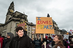 06-02-16. Cardiff, Wales,  UK. Upto1000 protesters including artists, musicians and dancers march in a New Orleans Jazz funeral style demo in the rain against Cardiff Council's proposed cut £700,000 off the annual arts and culture budget which willbe votedonnext week. .Picture credit: Ian Homer/LNP