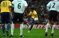 Photo: Tony Oudot.<br /> England v Brazil. International Friendly. 01/06/2007.<br /> Ronaldinho of Brazil curls in a free kick