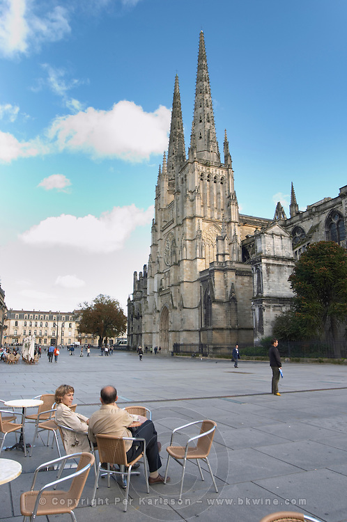 Cathedral Saint Andre. Cafe. Place Pey Berland. Bordeaux city, Aquitaine, Gironde, France