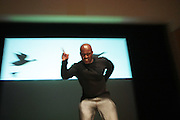 May 19, 2012 -New York, NY-United States:  Perfomance Artist Byronn Ban performs at the Question Bridge: Black Male Blue Print Round Table moderated by Dr. Khalil Gibran Muhammad and hosted by Kevin Powell and held at the Iris and B.Gerald Cantor Auditorium in the Brooklyn Museum on May 19, 2012 in Brooklyn, New York. Question Bridge: Black Males is a transmedia art project that seeks to represent and redefine Black male identity in America. Question Bridge: Black Males was created by Chris Johnson and Hank Willis Thomas in collaboration with Bayeté Ross Smith and Kamal Sinclair. The Executive Producers are Delroy Lindo, Deborah Willis and Jesse Williams. (Photo by Terrence Jennings)