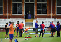 Cricket - 2019 ICC Cricket World Cup - pre-Final practice & press conferences<br /> <br /> The trophy on display in the pavilion as ground staff prepare the wicket, at Lords.<br /> <br /> COLORSPORT/ASHLEY WESTERN