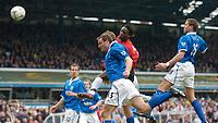 Fotball<br /> Foto: Richard Lane, Digitalsport<br /> Norway Only<br /> <br /> Birmingham City v Manchester United. FA Barclaycard Premiership. 10/04/2004.<br /> Louis Saha scores United's second goal.