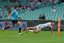 March 23, 2019 - Sydney, NSW, U.S. - SYDNEY, NSW - MARCH 23: Crusaders player Will Jordan (23) dives for the corner to score a try at round 6 of Super Rugby between NSW Waratahs and Crusaders on March 23, 2019 at The Sydney Cricket Ground, NSW. (Photo by Speed Media/Icon Sportswire) (Credit Image: © Speed Media/Icon SMI via ZUMA Press)