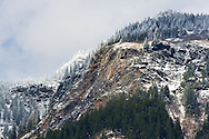 Spring snow on Ogilvie Peak.  Photographed from Coquihalla Canyon in Hope, British Columbia, Canada