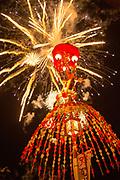 Shrine under fireworks during Fire Festival in Nozawaonsen, Japan