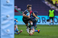 Rugby Union - 2020 / 2021 Gallagher Premiership - Round Nine - Harlequins vs Leicester Tigers - The Stoop<br /> <br /> Danny Care, of Harlequins, is tackled by George Martin, of Leicester Tigers, as he breaks for the try line<br /> <br /> <br /> <br /> COLORSPORT/DANIEL BEARHAM