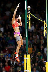 women's Pole Vault, Jenn Shur, wins with injured leg, Olympian, champion