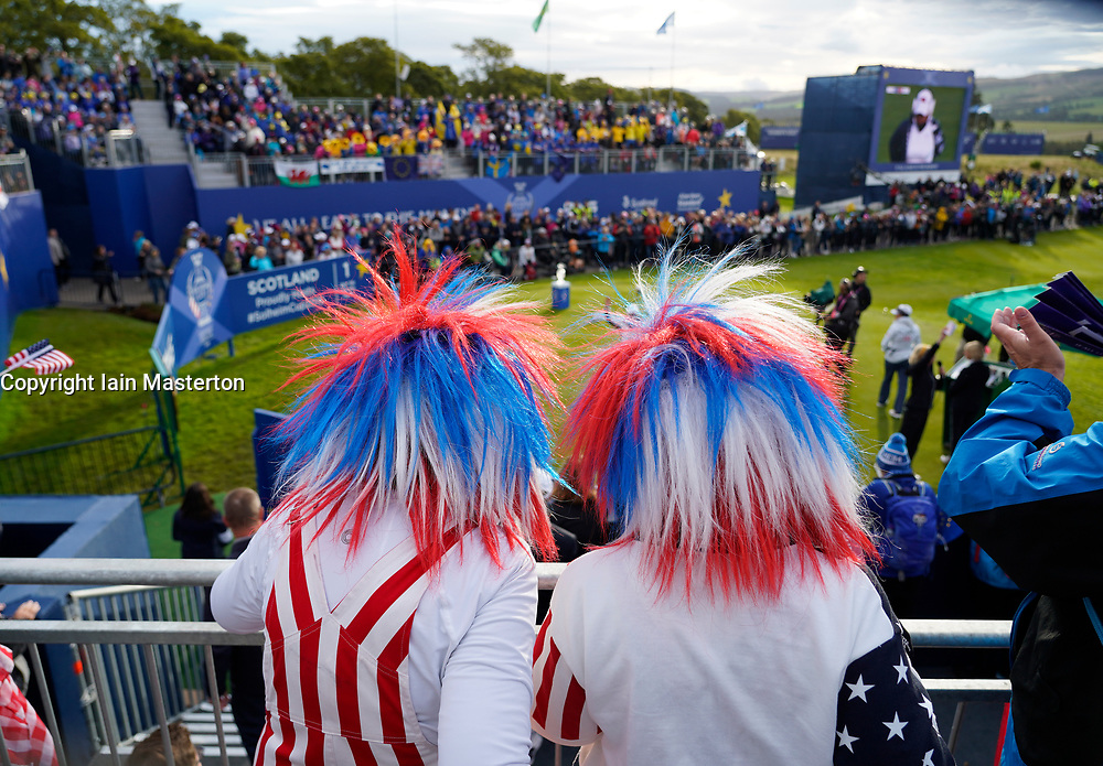 Auchterarder, Scotland, UK. 14 September 2019. Saturday morning Foresomes matches  at 2019 Solheim Cup on Centenary Course at Gleneagles. Pictured; Team USA fans in the grandstand beside the 1st tee. Iain Masterton/Alamy Live News