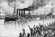 Russo-Japanese War 1904-1905:  Russian cruiser 'Varyag' steaming out of harbour to engage with the Japanese fleet at the Battle of Chemulpo, at which she was sunk, 9 February 1904