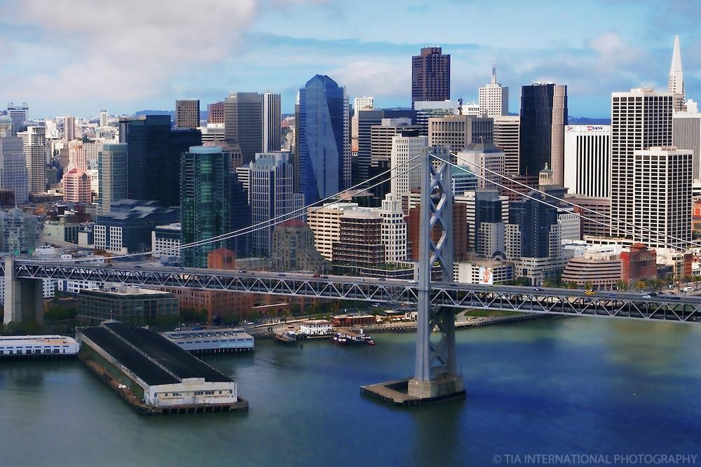 Bay Bridge & Downtown San Francisco (Aerial)