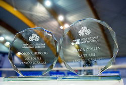 Trophies of Polona Hercog and Grega Zemlja at Tennis exhibition day and Slovenian Tennis personality of the year 2013 annual awards presented by Slovene Tennis Association TZS, on December 21, 2013 in BTC City, TC Millenium, Ljubljana, Slovenia.  Photo by Vid Ponikvar / Sportida