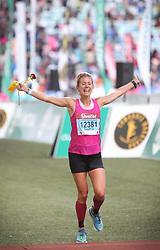 10062018 (Durban) A position 6th  Sophia Sundberg, Sweden run towards the finnish line during the 2018 Comrades marathon in Durban.<br /> Picture: Motshwari Mofokeng