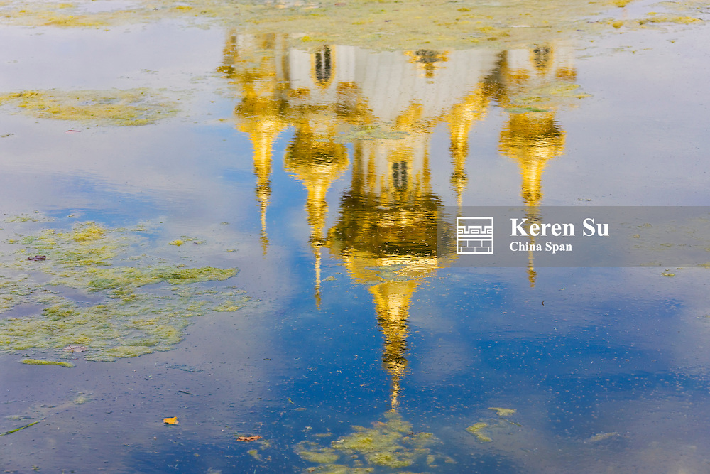 Reflection of Peterhof Palace in the pond, St. Petersburg, Russia