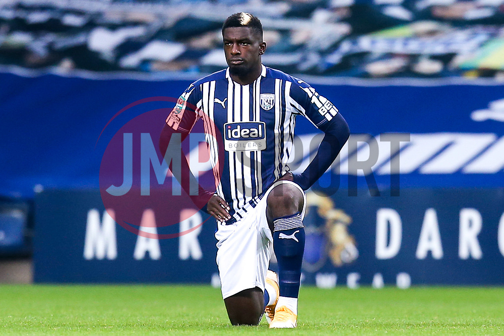 Cedric Kipre of West Bromwich Albion takes a knee for Black Lives Matter - Mandatory by-line: Robbie Stephenson/JMP - 16/09/2020 - FOOTBALL - The Hawthorns - West Bromwich, England - West Bromwich Albion v Harrogate Town - Carabao Cup