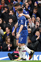 Chelsea's Olivier Giroud with teammate Billy Gilmour<br /> <br /> Photographer Stephanie Meek/CameraSport<br /> <br /> The Premier League - Chelsea v Everton - Sunday 8th March 2020 - Stamford Bridge - London<br /> <br /> World Copyright © 2020 CameraSport. All rights reserved. 43 Linden Ave. Countesthorpe. Leicester. England. LE8 5PG - Tel: +44 (0) 116 277 4147 - admin@camerasport.com - www.camerasport.com