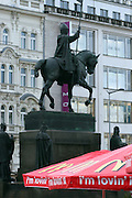 Umbrella from the Mc Donalds branch located at the upper Wenceslas Square towards the National Museum. The statue of St. Wenceslas at Wenceslas Square was 1912 made by sculptor Josef Vaclav Myslbek.