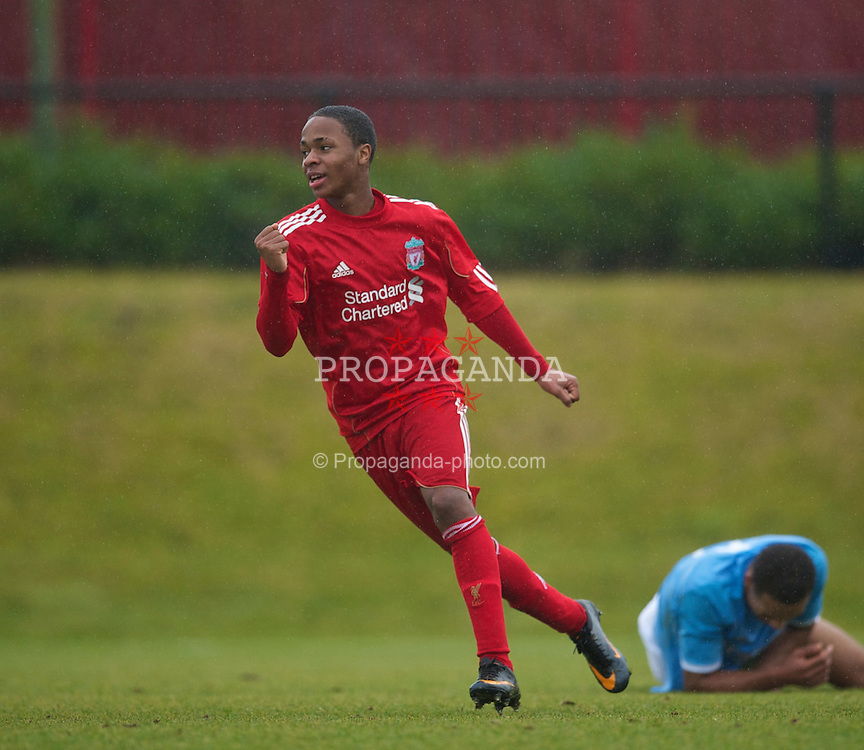 KIRKBY, ENGLAND - Saturday, February 5, 2011: Liverpool's Raheem Sterling celebrates scoring the first goal against Manchester City during the FA Academy Under 18s League at the Kirkby Academy. (Photo by David Rawcliffe/Propaganda)
