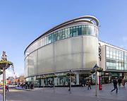 Modern architecture of city centre Next store Exeter, Devon, England, UK