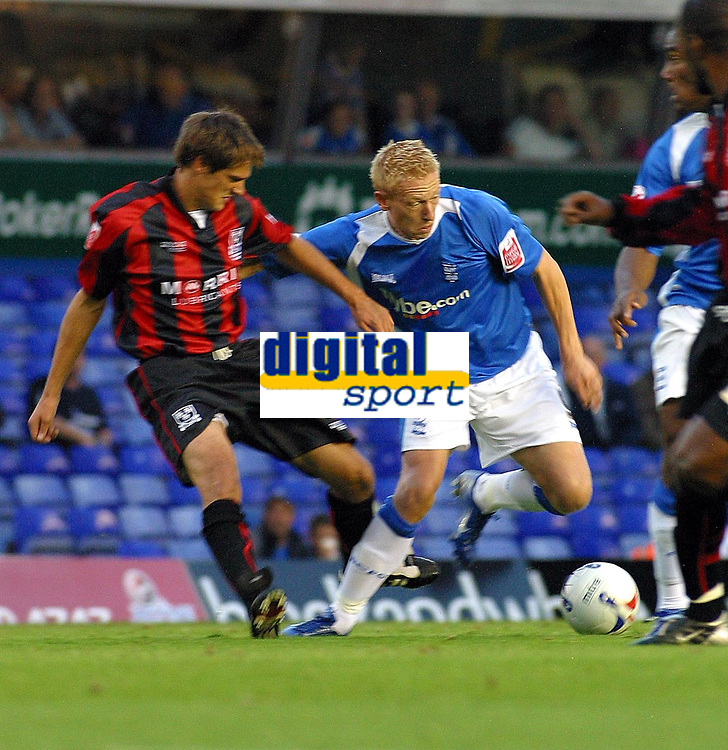 Photo: Dave Linney.<br />Birmingham City v Shrewsbury Town. Carling Cup. 22/08/2006Birminghams .Mikael Forssell tries to find a way through the Shrewbury defence