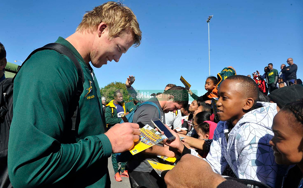 Cape Town 09082018-Springbok Pieter Steph Du Toit and his team signed autographs to the delight of youngsters who attended the Springboks training at Belhar rugby club today .Pic Noor Slamdien