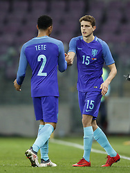 (L-R) Kenny Tete of Holland, Guus Til of Holland during the International friendly match match between Portugal and The Netherlands at Stade de Genève on March 26, 2018 in Geneva, Switzerland