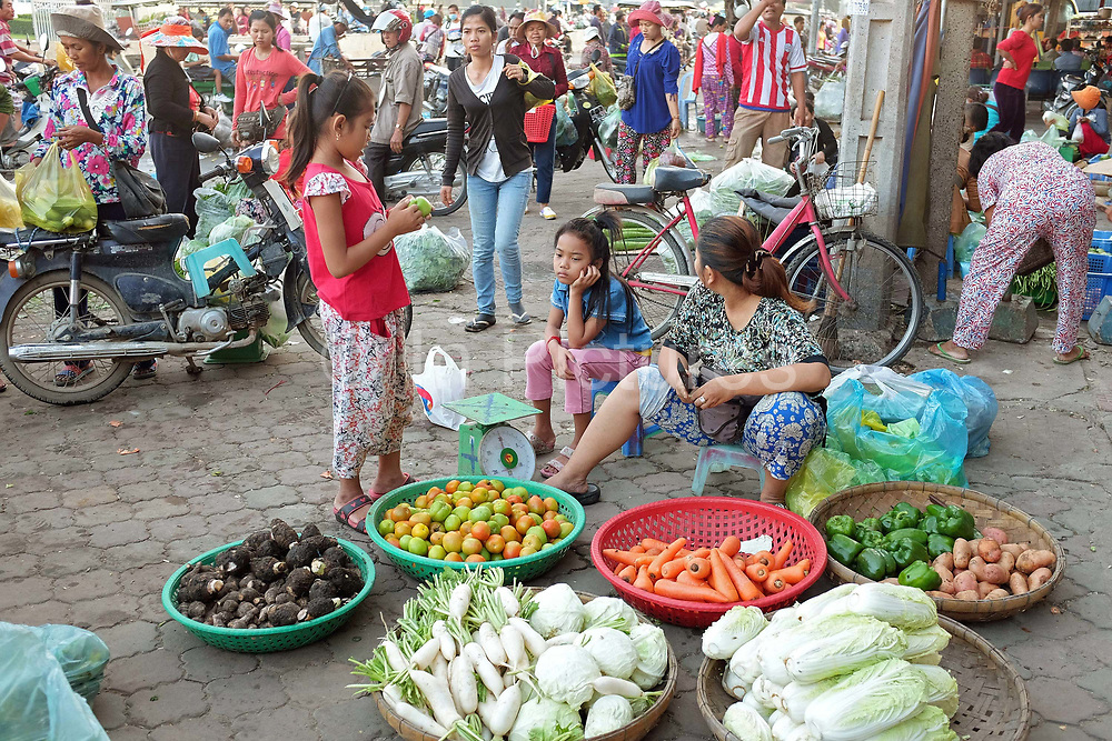 Buyers and sellers at Daeum Kor morning market in Phnom Penh, the capital city of Cambodia. A large variety of local products are available for sale in fresh markets all over Cambodia, all being sold on small individual stalls.