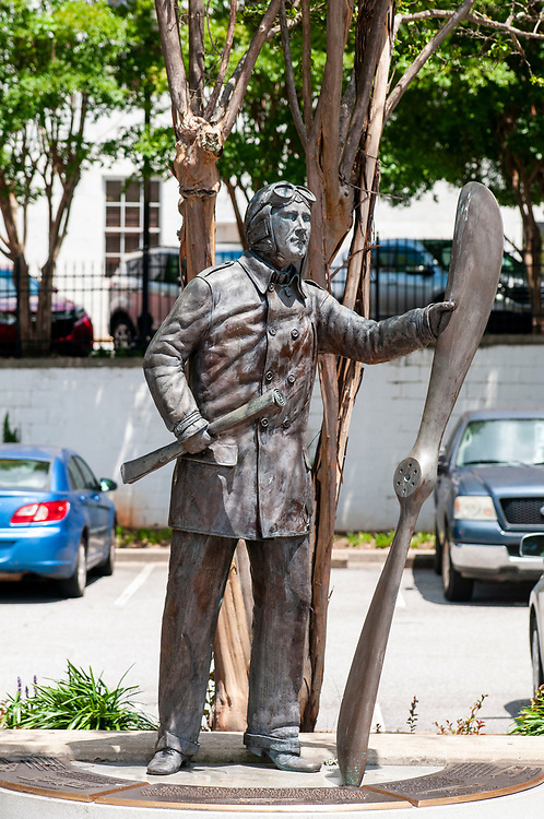 Statue of Ben Epps, the first person to fly in Georgia, on East Washington Street in downtown Athens, Georgia on Thursday, July 15, 2021. Copyright 2021 Jason Barnette