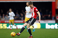 Chris Mepham of Brentford in action. EFL Skybet football league championship match, Brentford v Sheffield Wednesday at Griffin Park in London on Saturday 30th December 2017.<br /> pic by Steffan Bowen, Andrew Orchard sports photography.