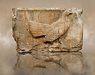 """Wild Foul freeze from the east side of Tomb of Kybernis also known as the """"Harpy Tomb""""  (480 B.C). Kybernis was a Lycian ruler of Xanthos who led the Lycian ships as part of the Persian invasion of Greece in 480 B.C. The Freeze comes from a nine meter high pillar tomb from Xanthos, UNESCO World Heritage site, south west Turkey. A British Museum exhibit B299 - B306, excavated by Charles Fellows in 1844. .<br /> <br /> If you prefer to buy from our ALAMY PHOTO LIBRARY  Collection visit : https://www.alamy.com/portfolio/paul-williams-funkystock/lycian-antiquities.html (TIP - Refine search by adding a suject or background colour as well).<br /> <br /> Visit our CLASSICAL WORLD HISTORIC SITES PHOTO COLLECTIONS for more photos to download or buy as wall art prints https://funkystock.photoshelter.com/gallery-collection/Classical-Era-Historic-Sites-Archaeological-Sites-Pictures-Images/C0000g4bSGiDL9rw"""