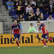 Harrison Shipp, (right), Chicago Fire, celebrates after  completing his hat trick during the New York Red Bulls Vs Chicago Fire, Major League Soccer regular season match won 5-4 by the Chicago Fire at Red Bull Arena, Harrison, New Jersey. USA. 10th May 2014. Photo Tim Clayton