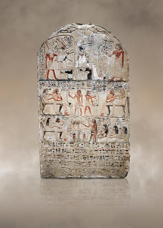 """Ancient Egyptian stele of s standard bearer Maienhekau, limestone, New Kingdom, 18th Dynasty, (1458-1425 BC), DAbydos,  Egyptian Museum, Turin. <br /> <br /> In the top registerMaienhekau makes offerings to Ptah, Osiris and Horus. In the middle he is shown with his wife reveiving offerings from his 2 sons. In the lower register another son with 3 gaughters is offering a formula to Maienhekau, also listing his titles. He was standard bearer (captain) on several warships and the """"bearer of arms """" of Thutmosis II. The current depictions are over an earlier relief which can be seen in places where the later stucco has come away. .<br /> <br /> If you prefer to buy from our ALAMY PHOTO LIBRARY  Collection visit : https://www.alamy.com/portfolio/paul-williams-funkystock/ancient-egyptian-art-artefacts.html  . Type -   Turin   - into the LOWER SEARCH WITHIN GALLERY box. Refine search by adding background colour, subject etc<br /> <br /> Visit our ANCIENT WORLD PHOTO COLLECTIONS for more photos to download or buy as wall art prints https://funkystock.photoshelter.com/gallery-collection/Ancient-World-Art-Antiquities-Historic-Sites-Pictures-Images-of/C00006u26yqSkDOM"""