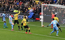 27 November 2016 - Premier League - Watford v Stoke City - An effort from Charlie Adam of Stoke City hits the post before rebounding from Watford goalkeeper Heurelho Gomes for an now goal - Photo: Marc Atkins / Offside.