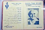 Ben Gurion's Haganah membership card. Israel, Negev desert, Kibbutz Sde Boker, Ben-Gurion's Desert Home