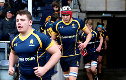 Worcester Warriors U18 run out to face Northampton Saints U18 - Mandatory by-line: Robbie Stephenson/JMP - 22/01/2017 - RUGBY - Sixways Stadium - Worcester, England - Worcester Warriors U18 v Northampton Saints U18 - Premiership Rugby U18 Academy League