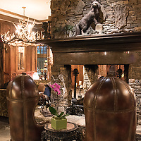 The Grand Bohemian Hotel Asheville, part of the Kessler Collection, is a new hote made to look like an Austrian hunting lodge and decorated with sumptuous artwork. It is located in Biltmore Village near downtown Asheville, North Carolina.