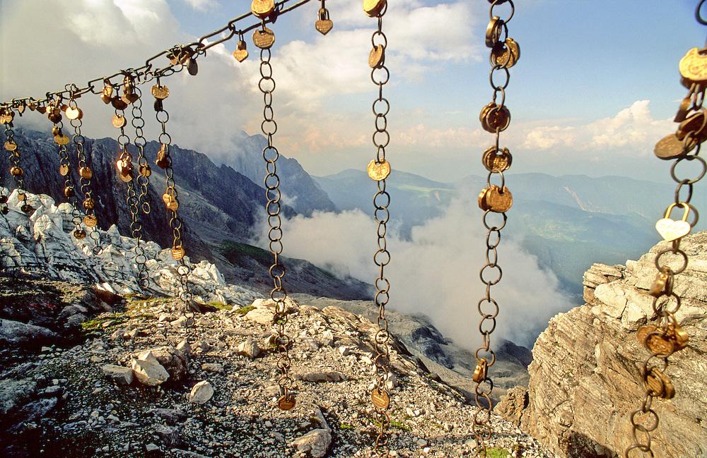 Love lockets at the top of Yulong Xueshan, Snow Mountain, Yunnan Province, South West China.