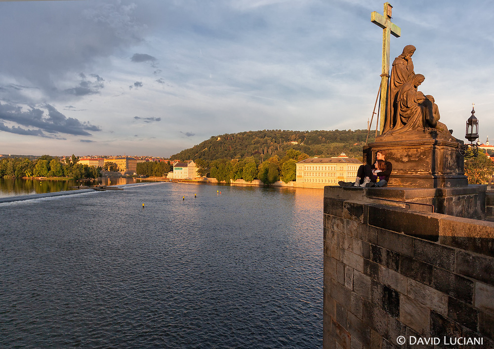 View on Vltava river from the Charles bridge.
