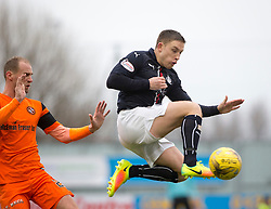 Dundee United's Frank van der Struijk and Falkirk's John Baird. Falkirk 3 v 0 Dundee United, Scottish Championship game played 11/2/2017 at The Falkirk Stadium.