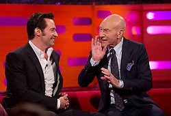 Hugh Jackman and Patrick Stewart during filming of the Graham Norton Show at The London Studios.
