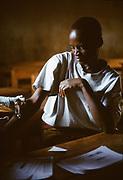 Venant is tested for the HIV virus at Kibayi health centre. Kibileze, Rwanda.