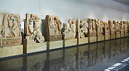 Interior of Aphrodisias Museum, showing Roman Sebasteion relief sculptures,   Aphrodisias, Turkey. .<br /> <br /> If you prefer to buy from our ALAMY STOCK LIBRARY page at https://www.alamy.com/portfolio/paul-williams-funkystock/greco-roman-sculptures.html . Type -    Aphrodisias     - into LOWER SEARCH WITHIN GALLERY box - Refine search by adding a subject, place, background colour, museum etc.<br /> <br /> Visit our ROMAN WORLD PHOTO COLLECTIONS for more photos to download or buy as wall art prints https://funkystock.photoshelter.com/gallery-collection/The-Romans-Art-Artefacts-Antiquities-Historic-Sites-Pictures-Images/C0000r2uLJJo9_s0