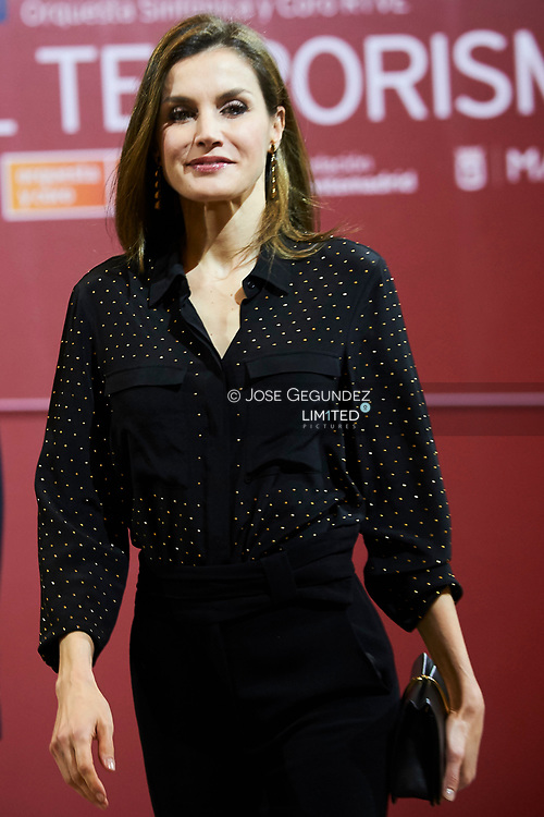 Queen Letizia of Spain attend a Tribute Concert for Terrorism Victims at the National Auditorium on March 8, 2017 in Madrid, Spain