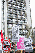 Protestors gather for the March for Homes demonstration on 31st January 2015 in South London, United Kingdom. March for homes is a campaign group which demand solutions to the housing crisis and better housing for Londoners