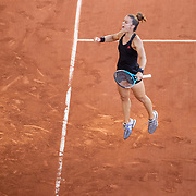 PARIS, FRANCE June 10. Maria Sakkari of Greece celebrates after winning the second set against Barbora Krejcikova of the Czech Republic on Court Philippe-Chatrier during the semi finals of the Women's singles competition at the 2021 French Open Tennis Tournament at Roland Garros on June 10th 2021 in Paris, France. (Photo by Tim Clayton/Corbis via Getty Images)